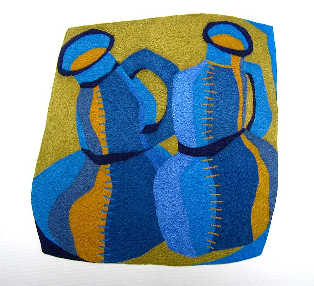 ON THE BLUE PATH | Mercerised cotton thread on calico