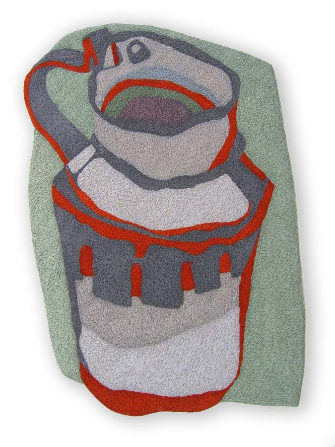 EILEEN'S OLD BATTERED GREEK TANKARD (one of a triptych) | Mercerised cotton thread on calico; 18cm wide x 25cm high.