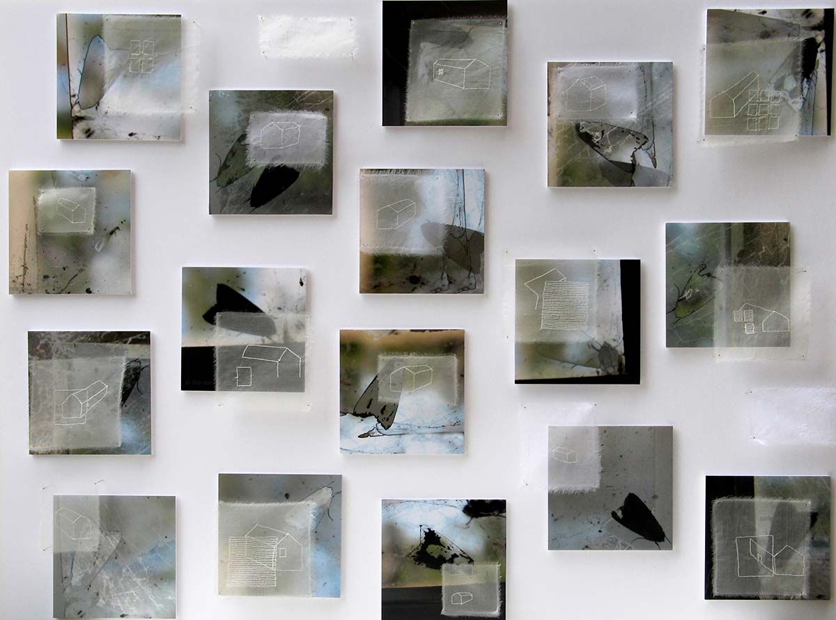 SAFE AS HOUSES | Date: 2006 Medium: Digitally manipulated photographs, hand stitched drawings on silk organza, pins Size: The individual elements of the work are pinned to the gallery wall (total dimensions of the piece variable, each panel 22 x 22cm) Photo: Maggie Henton