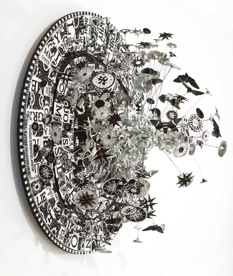 BABEL | Machine embroidery, wire, text, glass tile, resin, ceramic; 90cm diameter x 60cm deep. Photo: Peter Mennim.