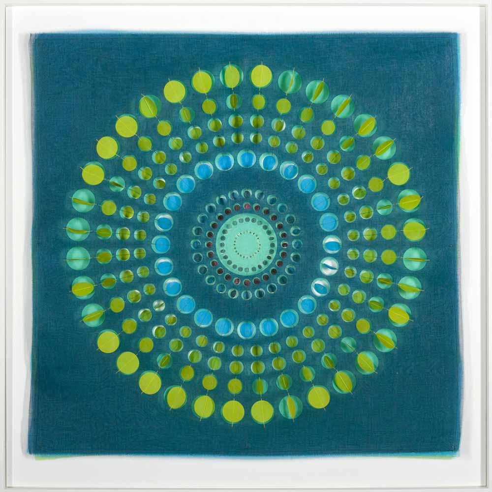 GREEN CIRCLED | Handcut, layered textile wall panel