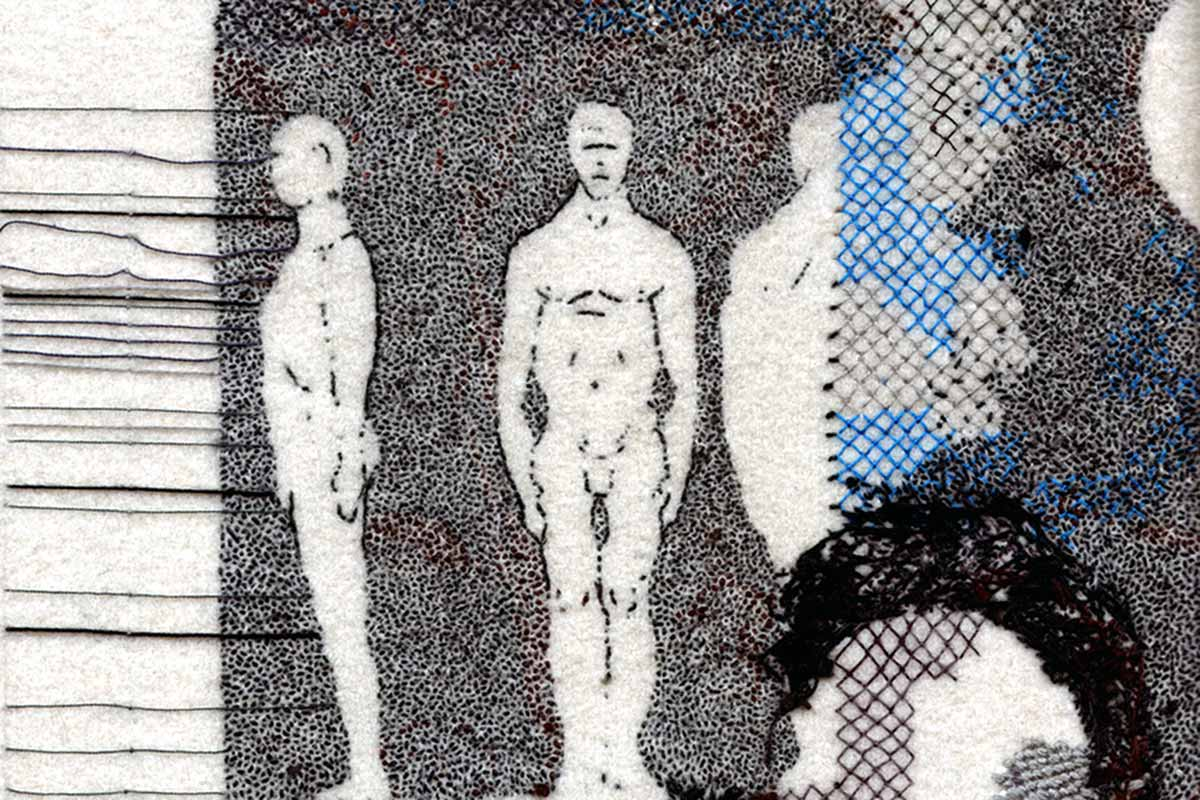 PROPORTIONS OF A MALE FIGURE (detail) | Hand embroidered, cotton on wool, 53cms x 70cms. Photo: Richard McVetis
