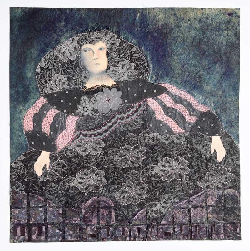 INFANTA SERIES: SIT LIKE A MOUNTAIN   Paper, fabric, indigo, paint, collage, applique, stitch; 51cm x 51cm. Photo : Michael Wicks