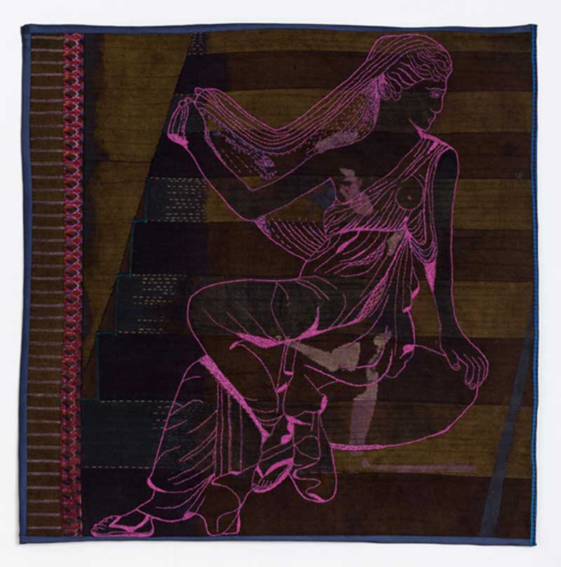 PERSEPHONE | Indigo-dyed Chinese fabric, threads. 50cms X 50cms. Photo : Michael Wicks