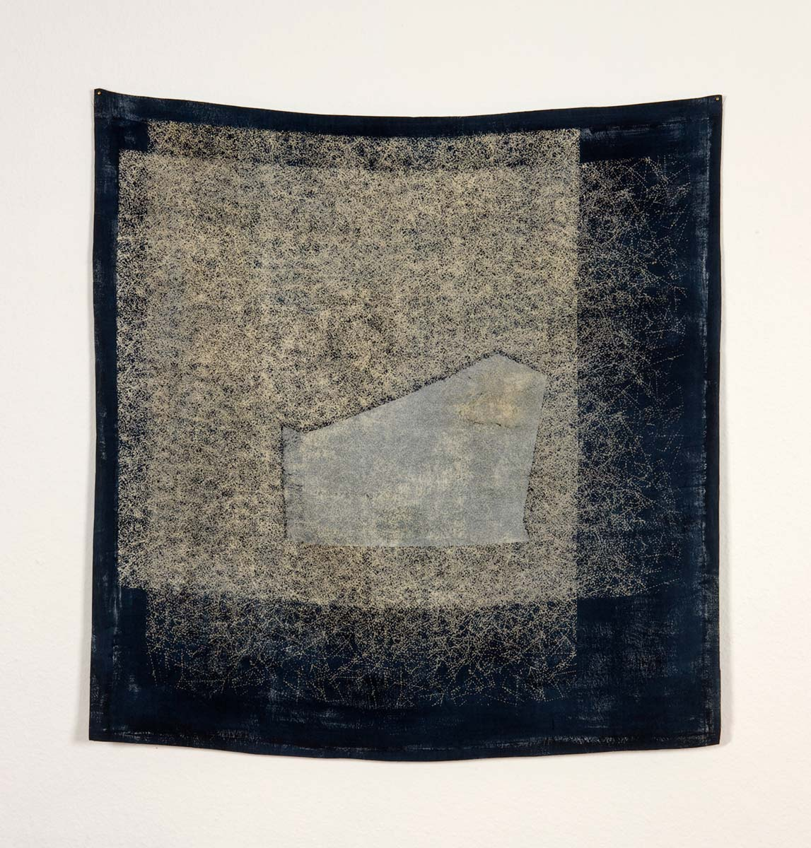 EMERGE | Painted and screen-printed Irish linen; 111cm x 111cm;. Photo: Ruth Clark : private collection.