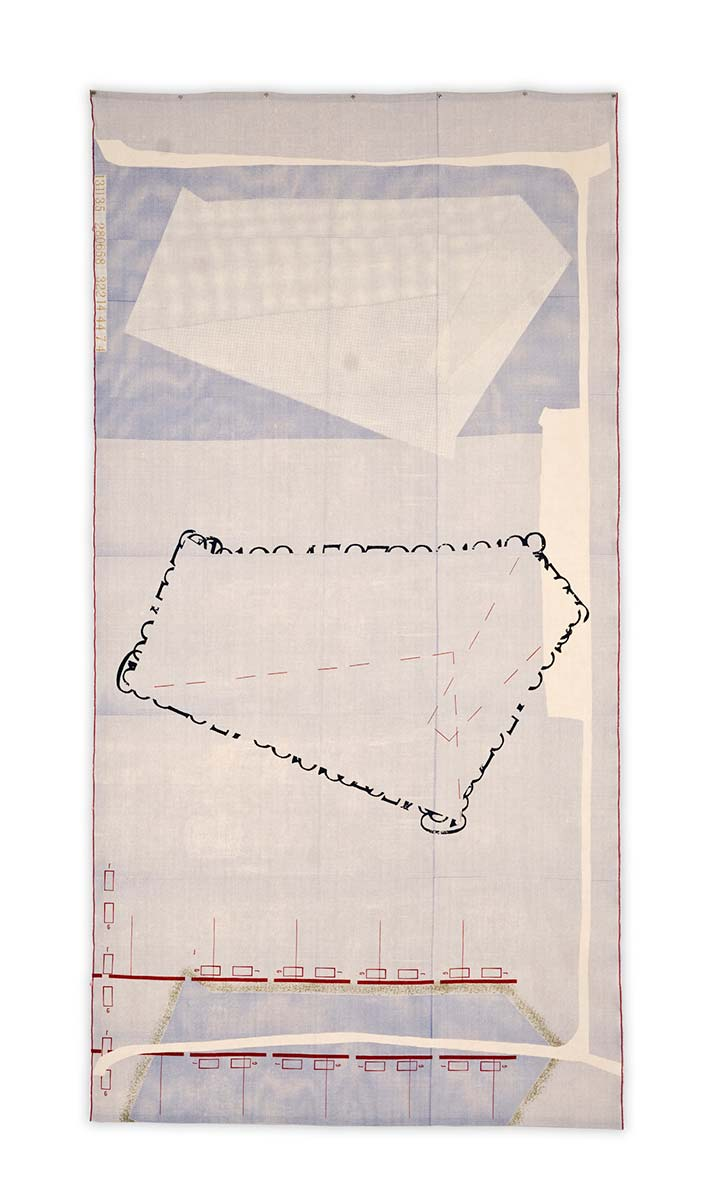 THE SHAPE OF THINGS | Screen-printed Irish linen; 133cm x 260cm. Photo: Electric Egg Ltd