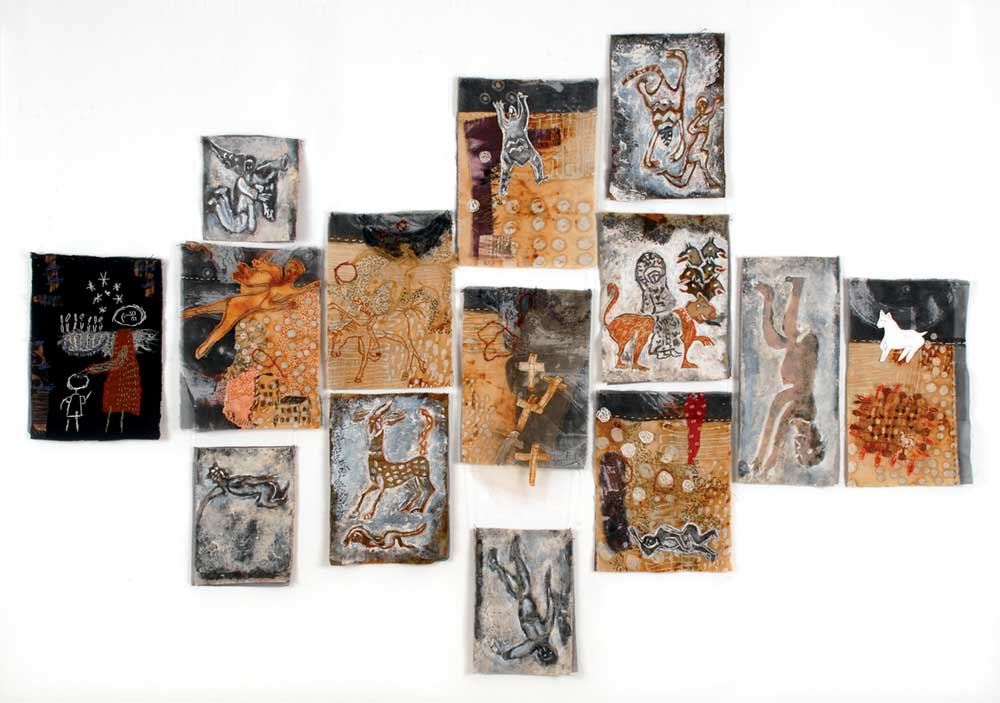 SEVEN TO TWELVE | 125 h x 200 w cm; Rust dyed batik, gesso and flour paste resist, discharged, painted by sepia and black ink, embroidery on cotton and polyester sheer, paper.