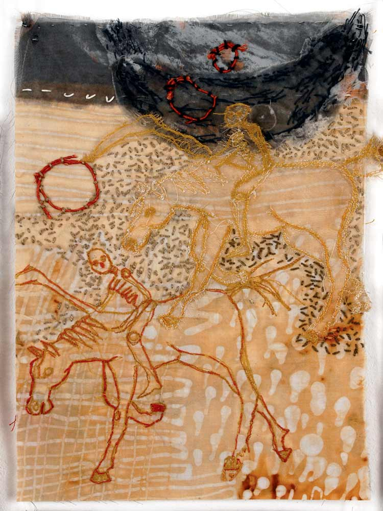 DEATH AND HIS SHADOW | 29h x 21w cm; Rust dyed batik, flour resist, embroidery on cotton and polyester sheer.