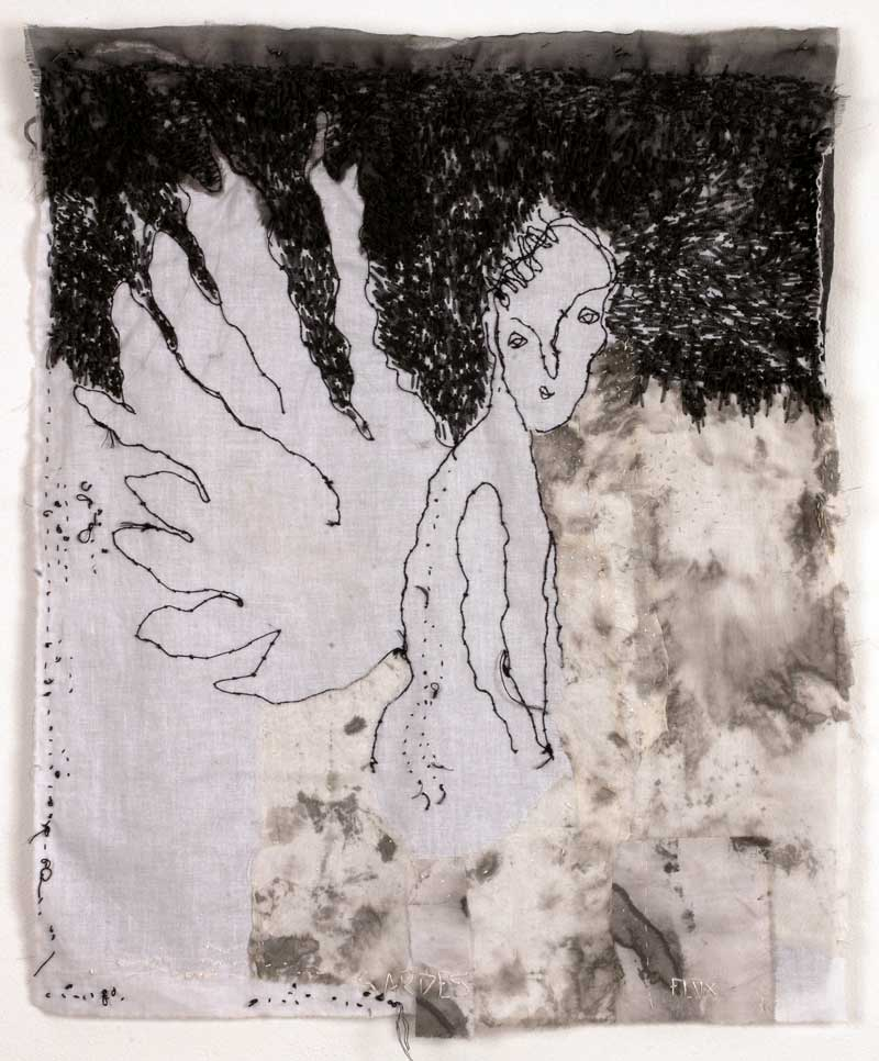 SARDES | 69 h x 50w cm; Polyester and linnen embroidery on inkstained cotton.