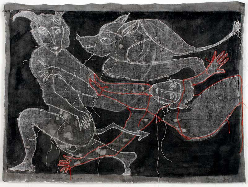 THE DEVIL, THE FALSE PROPHET AND THE BEAST | 53h x 70w cm; Monoprint, ink and embroidery on cotton.