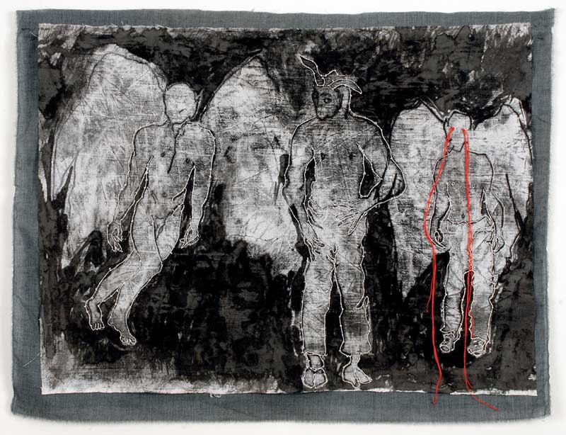 ARMAGEDDON | 52h x 69w cm; Monoprint, ink and embroidery on cotton.
