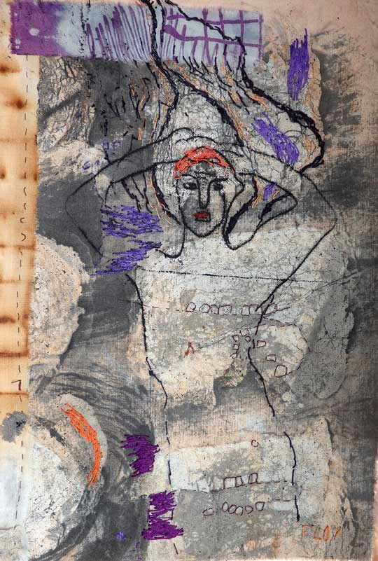SIXTH NIGHT   70h x 50w cm; Rust dyed coton, resist, ink, monoprint and hand embroidery.