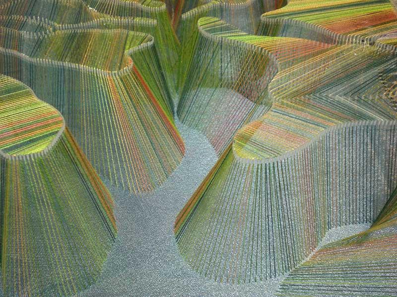 FLY STITCH AUTUMN LANDSCAPE (detail) – 2017 | Acrylic box, cotton threads, organza, beads; 34cm x 11cm x 45cm
