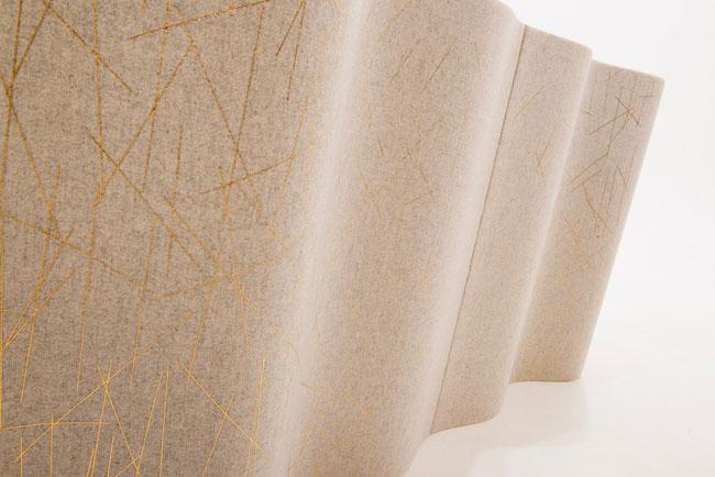 WAVEFORM ACOUSTIC PANEL | Wool, polyester foamcore, gold foil Screenprinted 80x 80cm per panel. Camera: Jefferson Studios.