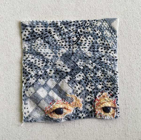 CHECKED STUDY EYE PATCH | 2018 10cm x 11cm pencil, hand stitching and applique on found calico. Description: with Nicholas Hilliard's eyes this work stems from winter evening visits to the V&A; marble tiled floors are mixed up with a lover's gaze as he moves through the English Galleries drawing and redrawing his path.