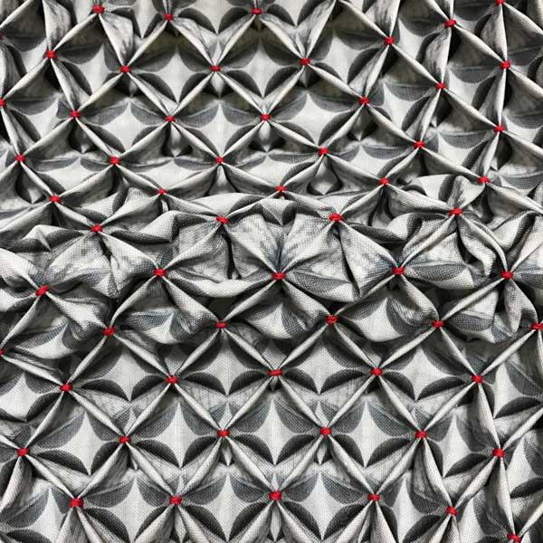 "UNDULATION   2016 8"" x 8"" hand smocked digital print on linen. Photo: Ealish Wilson"