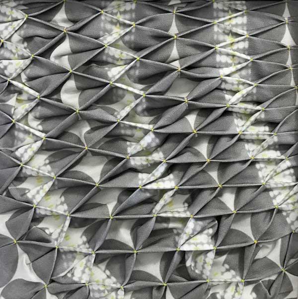 "CURVE   2016 8"" x 8"" hand smocked digital print on linen. Photo: Ealish Wilson."