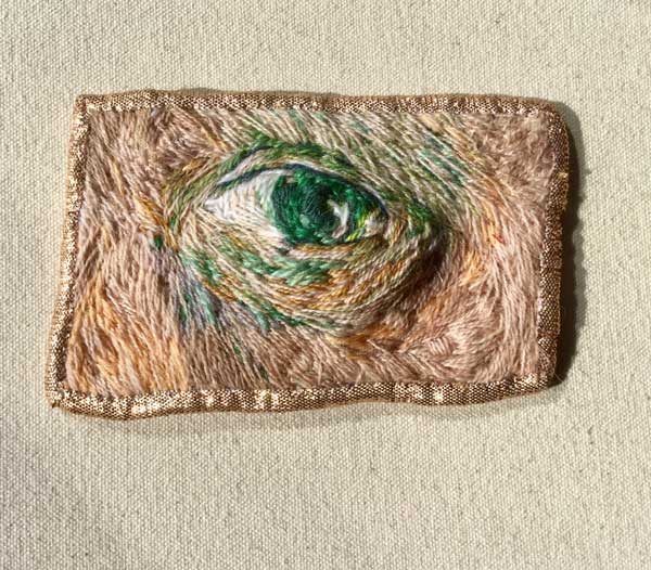 EYE PATCH | 2018 10cm x 5.6cm hand embroidery on cotton with lurex. Description: an eye patch for Vincent.