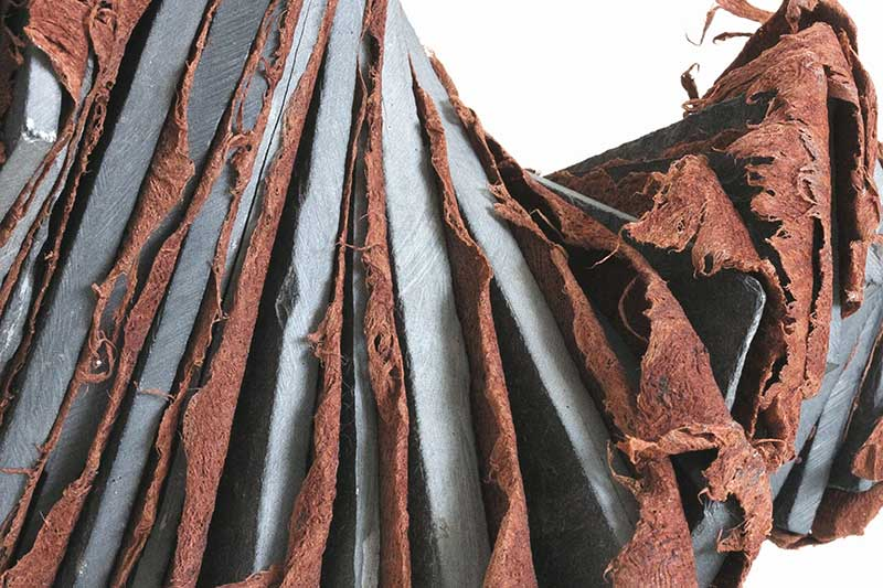 DORMANT (Detail) | Bark cloth, roofing slate, wire :  W20 x H12 x D15cm. Photo: Ann Goddard.