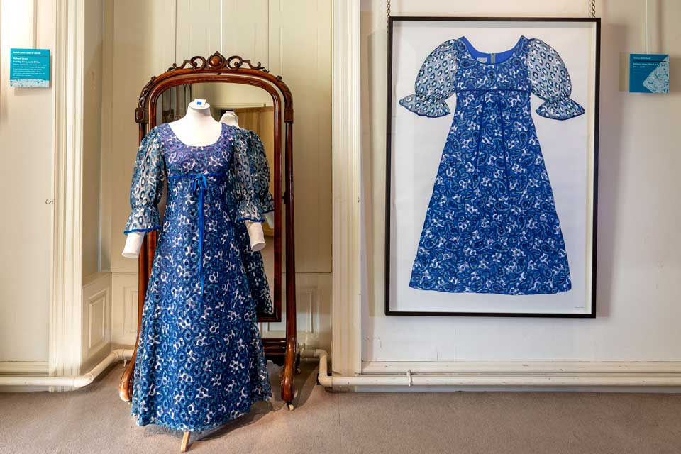 RICHARD SHOPS BLUE LACE DRESS | Shown at Killerton House National Trust, Exeter, as part of the Tree of Life exhibition with the original dress. 2019