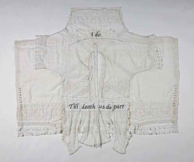 <strong>TILL DEATH US DO PART</strong>  2014 <strong>|</strong>  57 cm X 46 cm  vintage dress, embroidery floss.