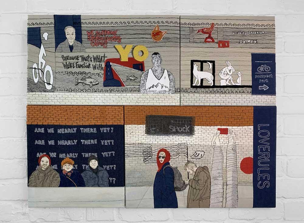 BROOKLYN: RECOLLECTION, RETURN & REPARTEE 2020 | Materials: linen & cotton fabrics, cotton & linen threads, acrylic paint Techniques: hand stitch, machine stitch, appliqué, painting Size 100 x 77 x 2 cms | Photo: Pitcher Design