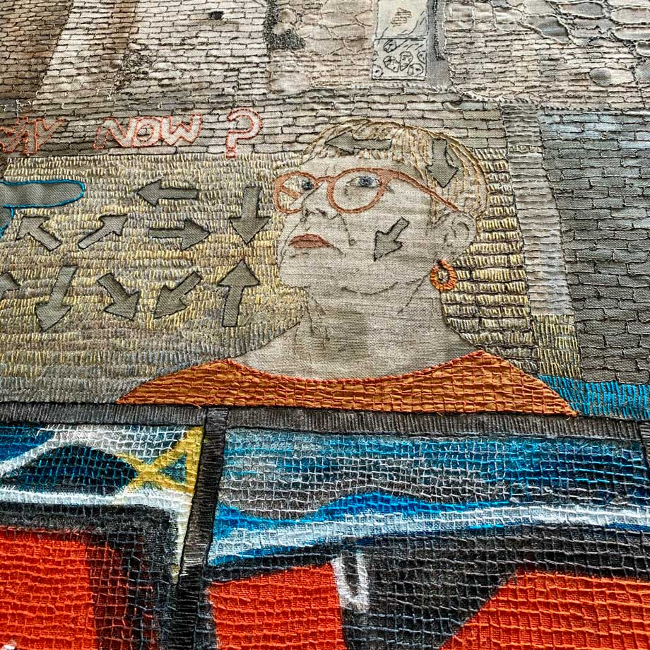 Detail of 'WHICH WAY NOW? 2020 | Materials: linen & cotton fabrics, cotton & linen threads, acrylic paint Techniques: hand stitch, machine stitch, appliqué, painting | Photo: Sue Stone