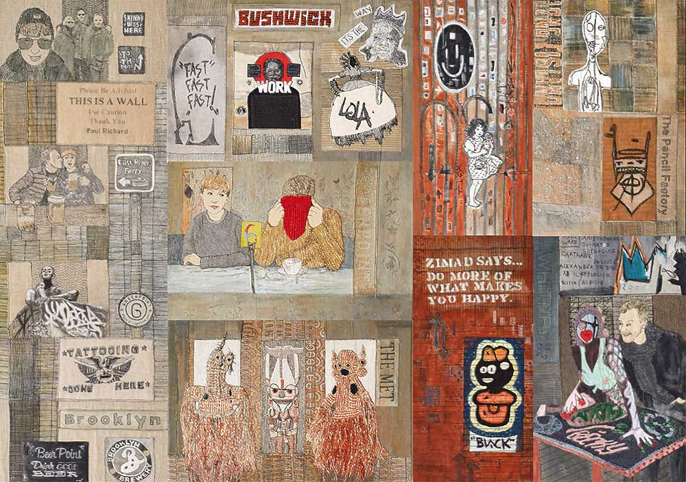 FROM GRIMSBY TO GREENPOINT & BEYOND 2018    Materials: Recycled cotton & linen clothing fabrics on linen background, InkTense pencils, acrylic paint. Techniques: Hand stitch, machine stitch, appliqué, painting Full piece 175 x 123 cms.   Photo: Pitcher Design