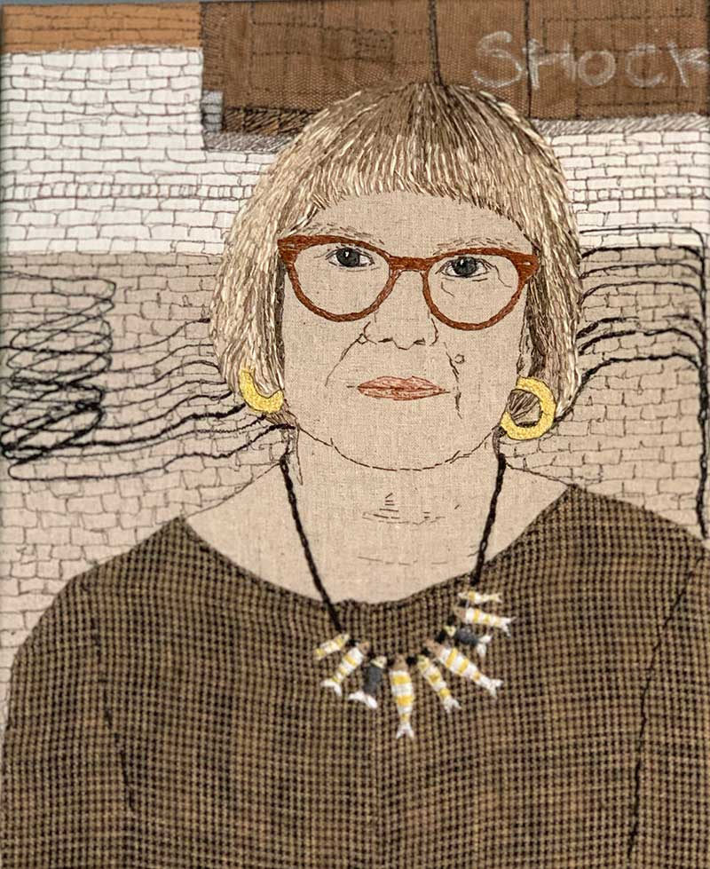 SELF PORTRAIT   No.66 one of an installation of 66 self portraits Materials: Recycled cotton & linen clothing fabrics on linen background.  Techniques: Hand stitch, machine stitch, appliqué, painting.   Photo: Sue Stone