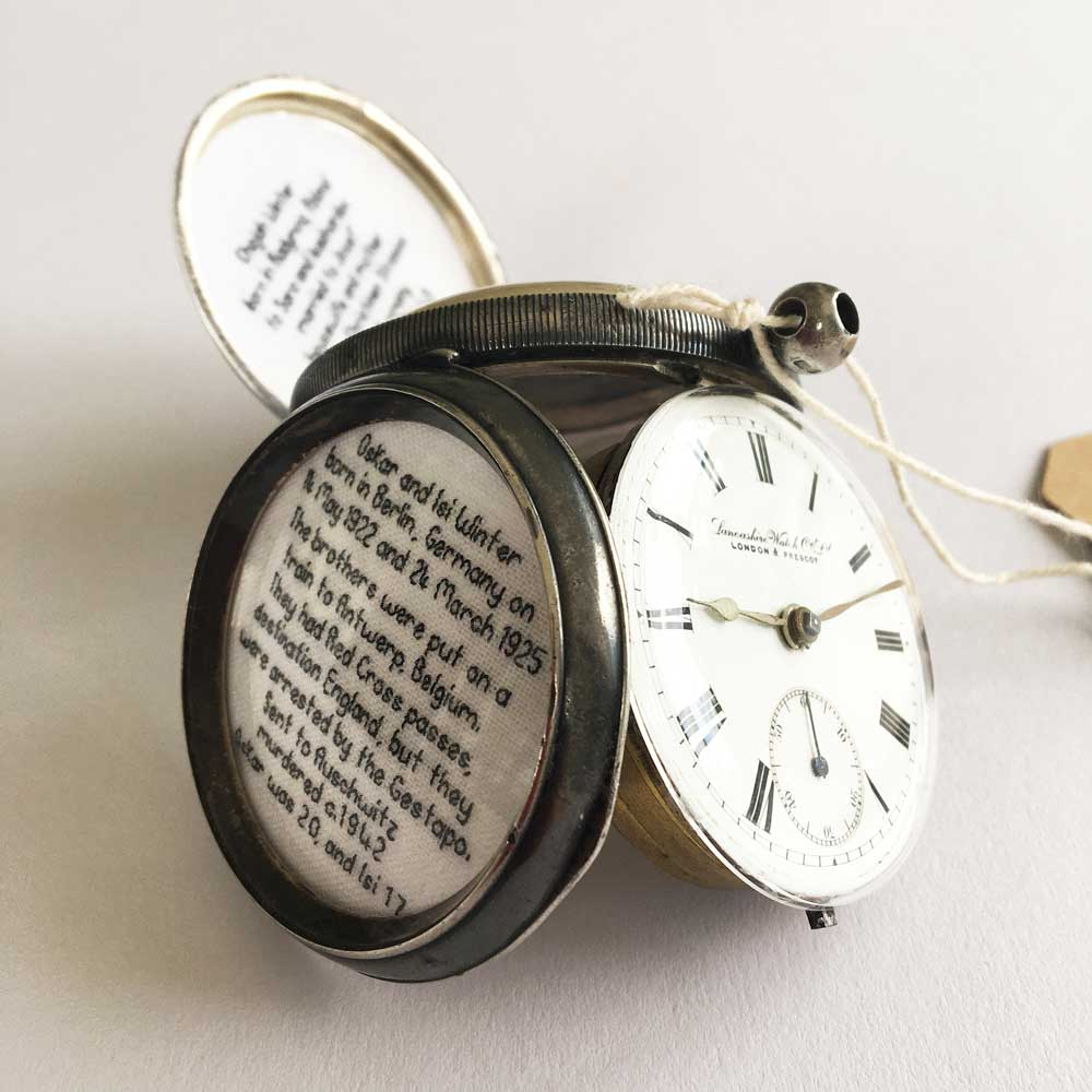 TURN BACK THE CLOCK, 2020 |Materials: Antique silver pocket watch, cotton, silk threads, vintage photo frame, photograph, luggage label | Process: hand stitch, handwriting