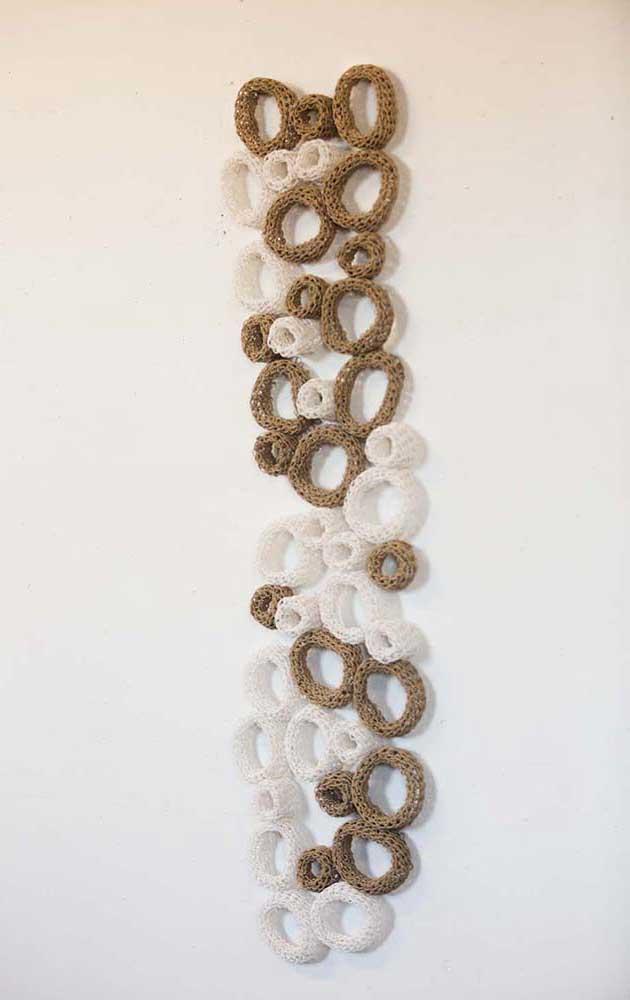 MIXITÉ- 2014   Wall art piece in paper yarn   Technique: Knitting   Size: Height 135 cm x width 30 cm x depth 8 cm