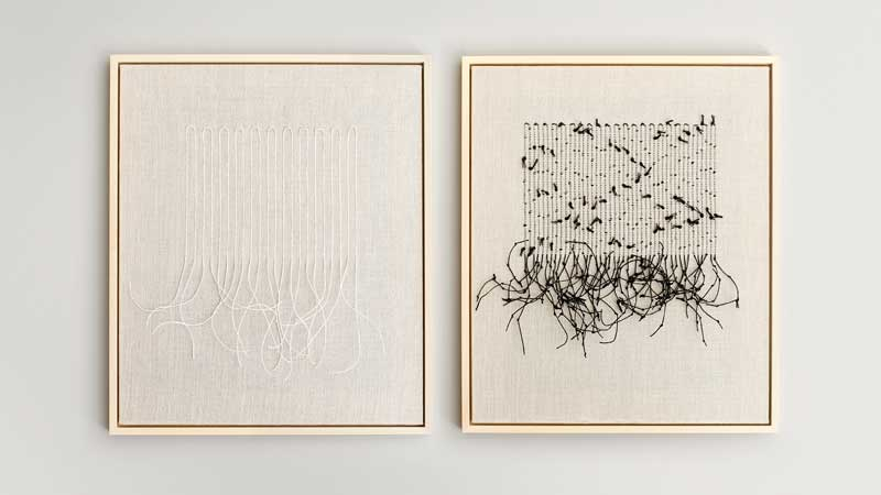 MAPPING (Black) and MAPPING (White) 2021 | Materials: linen/metallic yarn, paper | Techniques: handwoven and hand-knotted | Size: 63cm x 53cm x 3cm | Image credit: Christina Hesford.