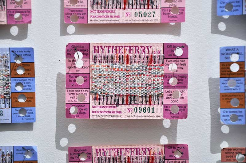 YOU ARE THE  JOURNEY (AN EMBROIDERED INTERVENTION) | 2015, reclaimed transport tickets and yarn, hand stitch, 210 x 111cm.